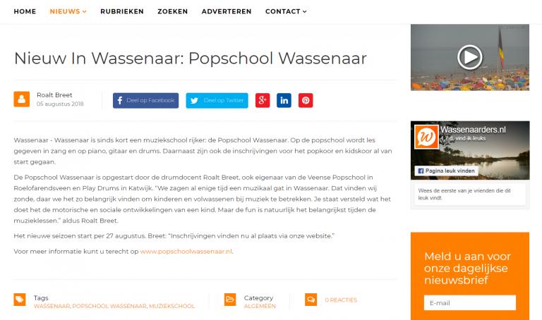 Persbericht Popschool Wassenaar